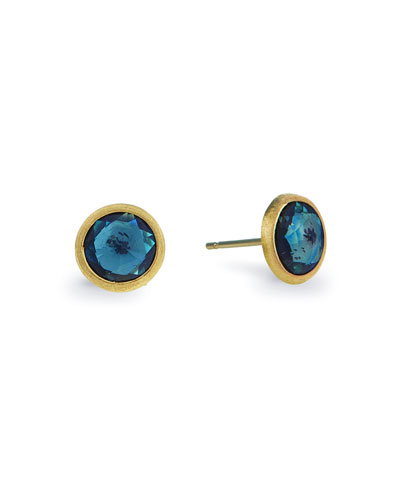Jaipur 18k Blue Topaz Stud Earrings