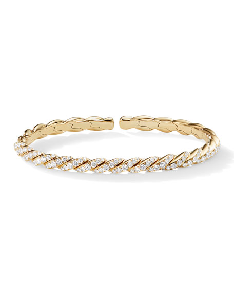 David Yurman Paveflex 18k Gold & Diamond Bracelet, Size L