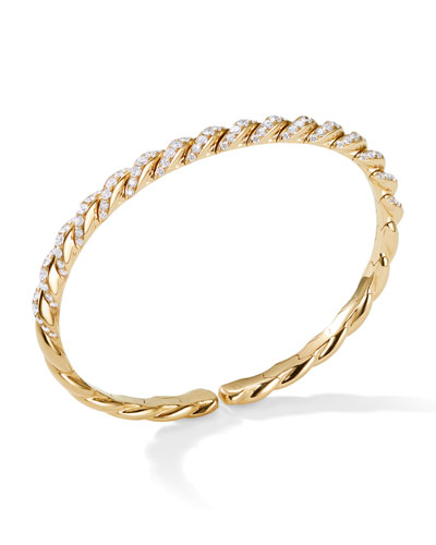 Pave Flex 18k Gold & Diamond Bracelet, Size L