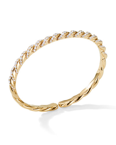 Pave Flex 18k Gold & Diamond Bracelet, Size M