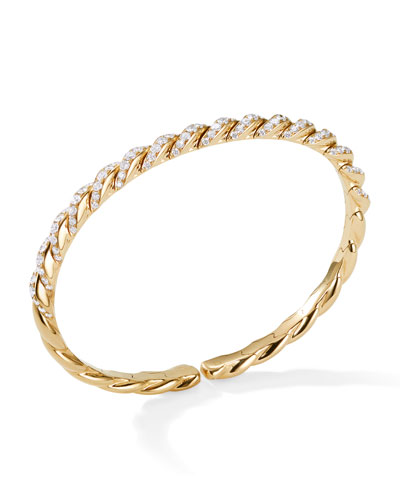 Pave Flex 18k Gold & Diamond Bracelet, Size S