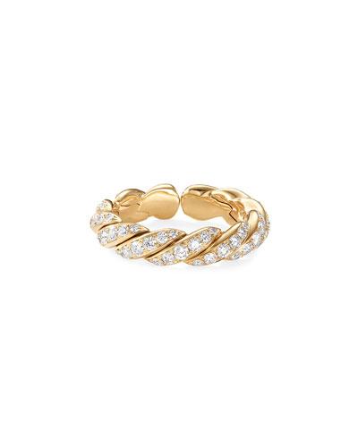 Pave Flex 18k Gold & Diamond Ring, Size 6-7