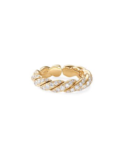Pave Flex 18k Gold & Diamond Ring, Size 7.5-8.5
