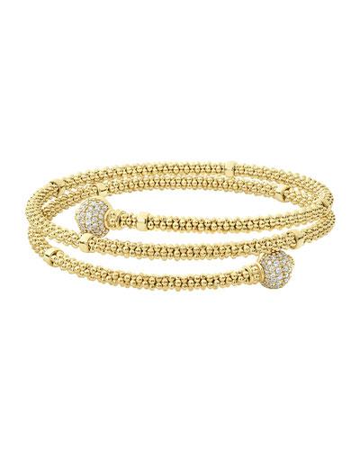18k Caviar Gold Coil Bracelet w/ Diamonds  Size M