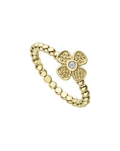 18k Caviar Gold Diamond Flower Stack Ring, Size 7