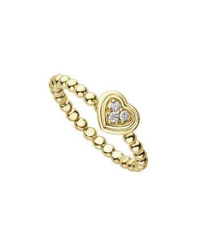 18k Caviar Gold Diamond Heart Stack Ring, Size 7