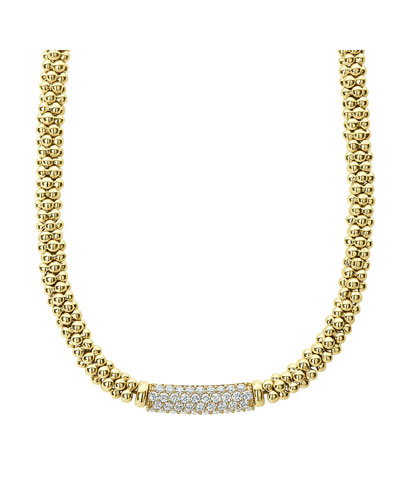 18k Gold Caviar Rope & Diamond Necklace, 19mm