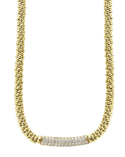 18k Caviar Gold Rope Necklace w/ 27mm Diamond Plate