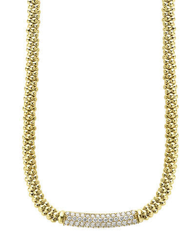 18k Gold Caviar Rope & Diamond Necklace, 27mm