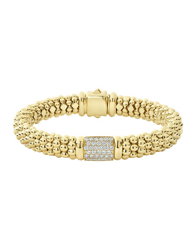 18k Caviar Gold Diamond Rope Bracelet - 9mm  Size M