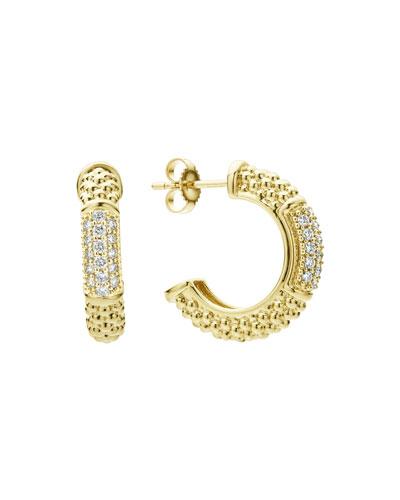 18k Caviar Gold Hoop Earrings w/ Diamonds