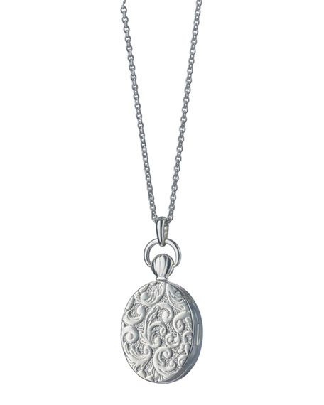 Mother-of-Pearl Petite Stone Silver Locket Necklace