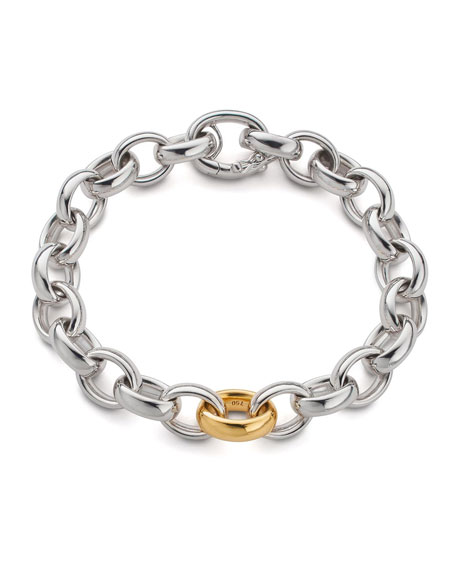 Sterling Silver Bracelet with 18k Yellow Gold Link, 7.5""