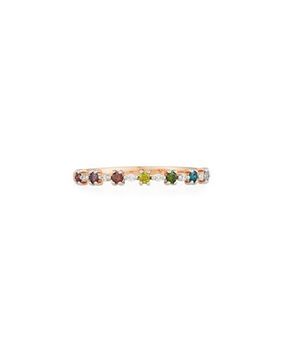 14k Multicolor Diamond Flowerette Stacking Ring, Size 7