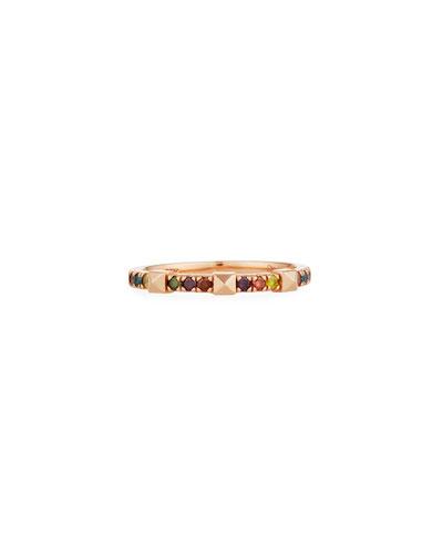 14k Rose Gold Rainbow Diamond & Pyramid Ring, Size 7