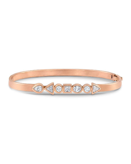 Dominique Cohen 18k Rose Gold Mixed Shape Diamond Hinged Huggie Bangle