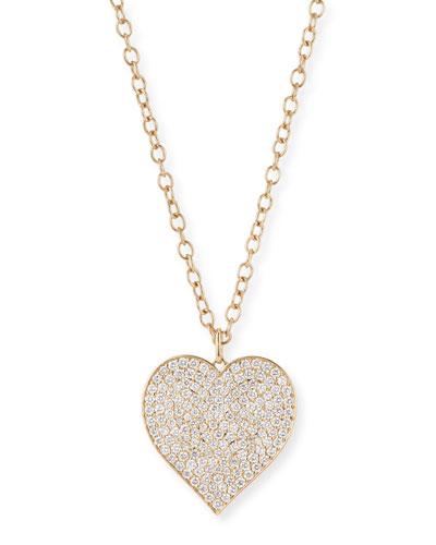 XL Pave Diamond Heart Pendant Necklace, 20