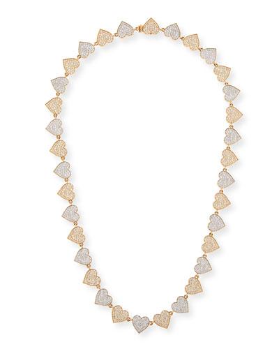 Two-Tone 14k Gold Diamond Heart Eternity Necklace