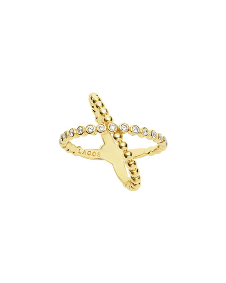 18k Caviar Gold Diamond X Ring