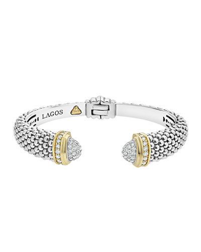Diamonds & Caviar Cuff Bracelet w/ 18k Gold