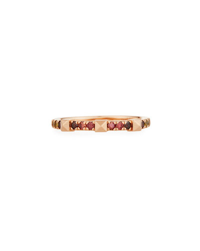 14k Rose Gold Warm Ombre Diamond & Pyramid Stackable Ring, Size 7