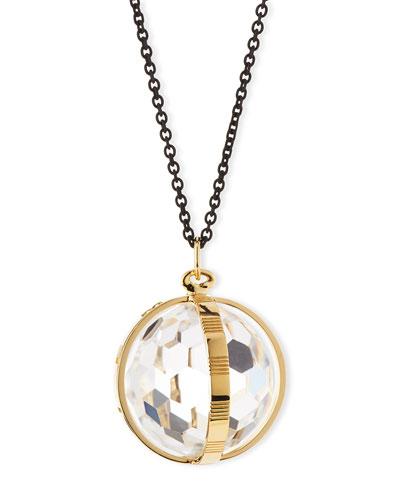 18K Gold & Black Steel Carpe Diem Crystal Pendant Necklace