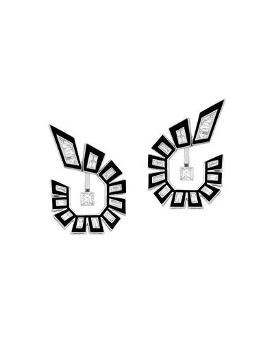 18k White Gold Diamond Front-Facing Hoop Earrings