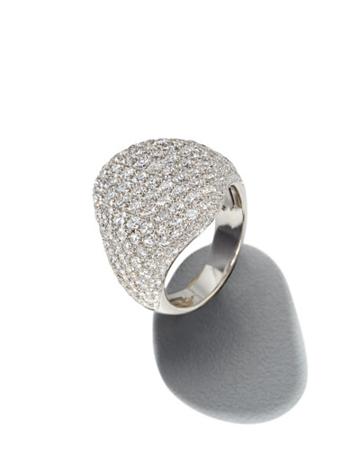 18k White Gold Diamond Dome Ring, Size 4