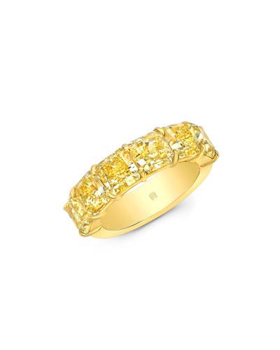 18k Fancy Intense Diamond Half Band Ring