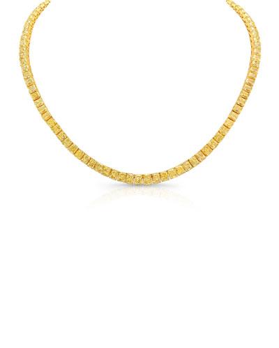 18k Radiant Fancy Yellow Diamond Tennis Necklace