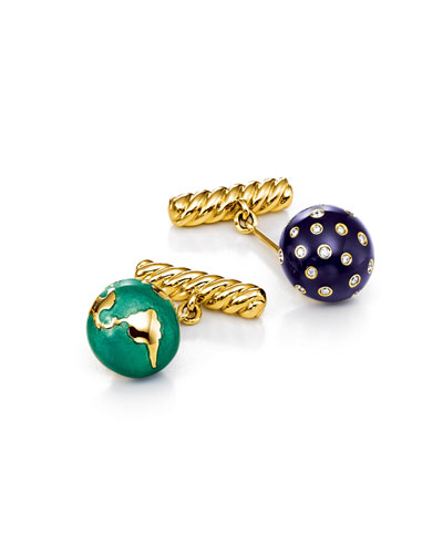 Night & Day 18k Gold/Enamel & Diamond Cufflinks