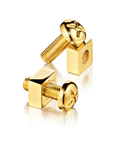 18k Gold Nut & Bolt Cuff Links