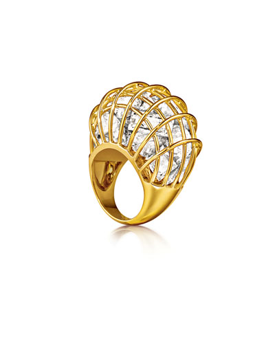 18k Gold Caged Rock Crystal Ring, Size 6