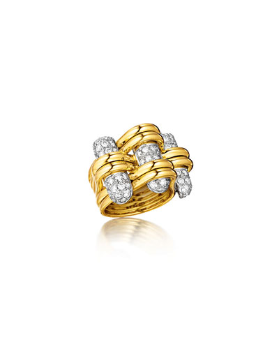 18k Gold Diamond Trio Ring, Size 6