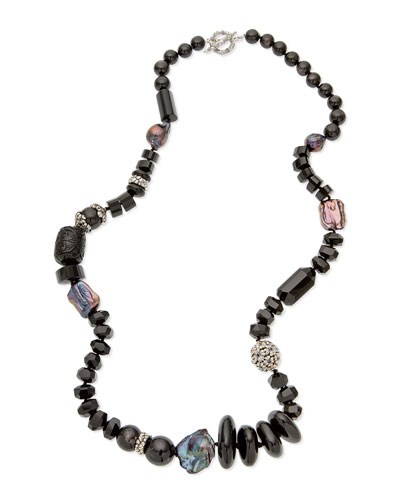 Long Carved Black Agate Bead Necklace