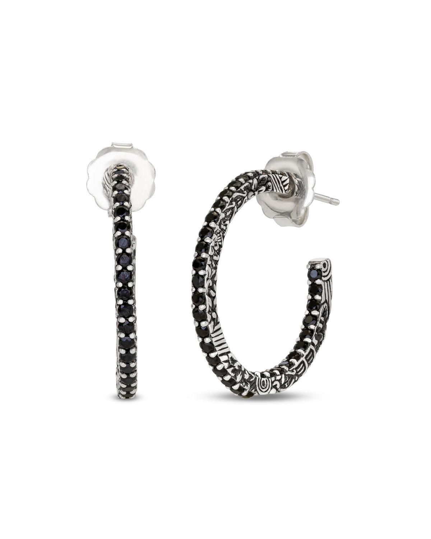 Stephen Dweck Medium Black Spinel Hoop Earrings Neiman Marcus