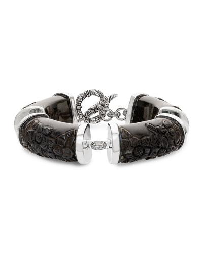 Black Agate Carved Flower Station Bracelet