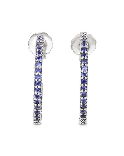 Large Iolite Hoop Earrings