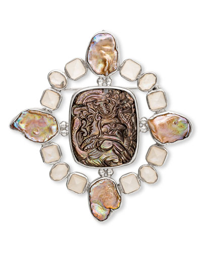 Carved Mother-of-Pearl Brooch