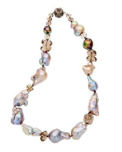 Multi-Pearl & Smoky Quartz Necklace