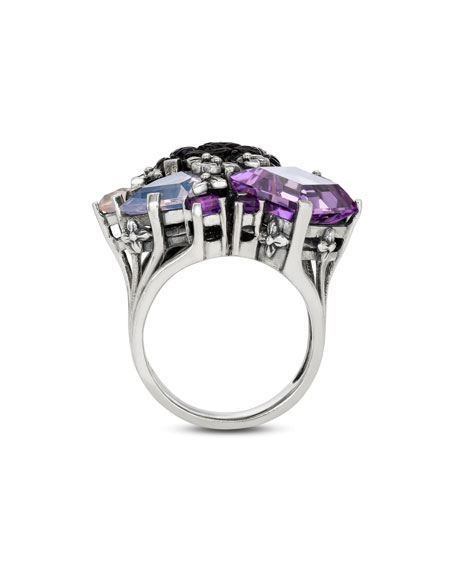 Stephen Dweck Carved Mother-of-Pearl & Amethyst Ring, Size 7