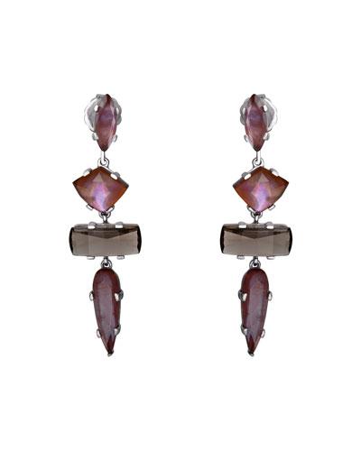 Mixed Quartz 4-Stone Drop Earrings