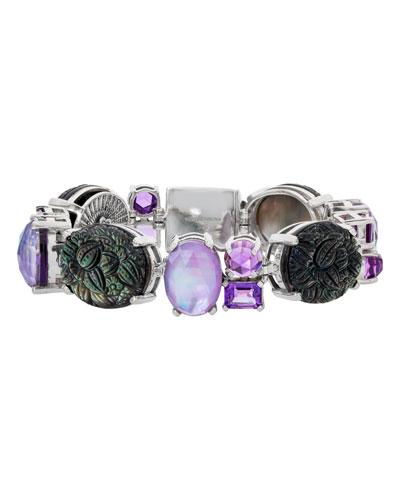 Carved Mother-of-Pearl & Amethyst Bracelet
