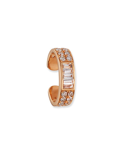 18k Rose Gold Baguette & Diamond Ear Cuff (Single)