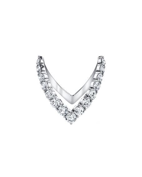 18k White Gold Diamond V Ring, Size 7
