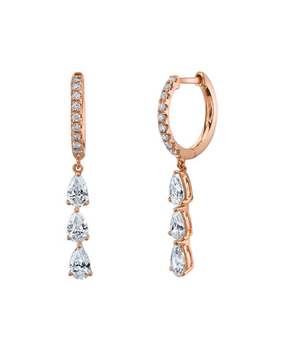 18k Rose Gold Triple Diamond Huggie Hoop Earrings