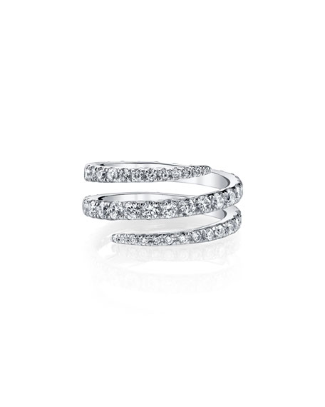 18k White Gold Diamond Coil Ring, Size 6