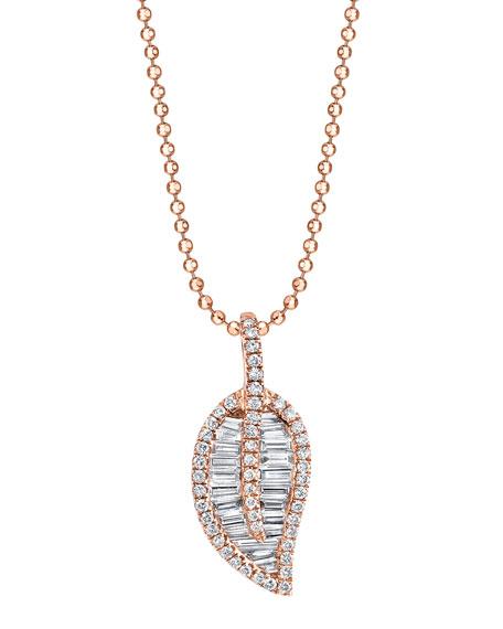18k Rose Gold Diamond Leaf Pendant Necklace