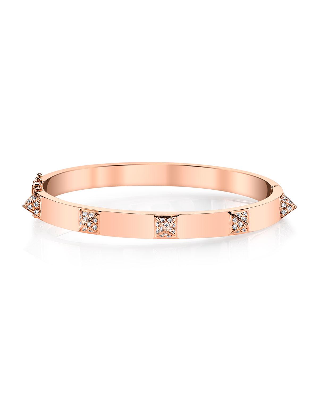 18k Rose Gold Diamond Spike Bracelet