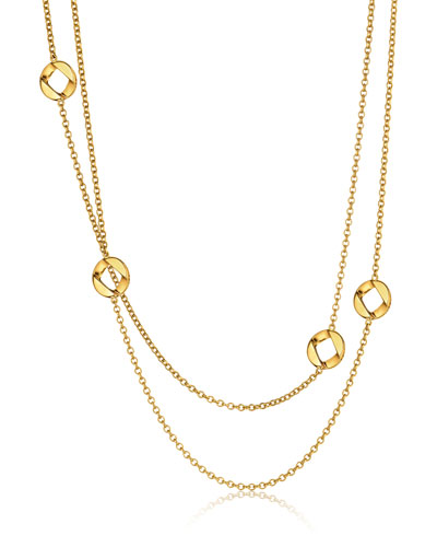 18k Gold Curb-Link Chain Necklace, 36